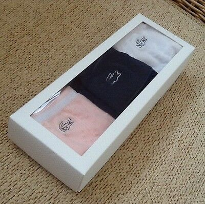 BNIB 3-pack girl's LACOSTE cotton socks. White. Pink. Navy. One size approx UK3