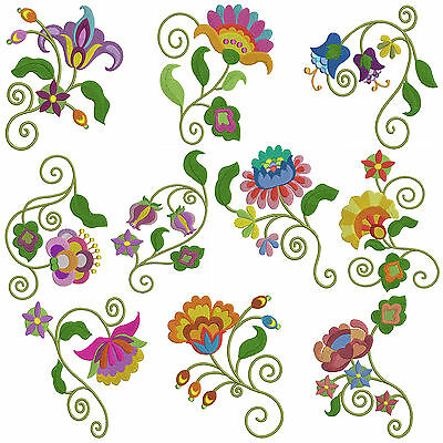JACO FLOWERS * Machine Embroidery Patterns *10 Designs,2 Sizes