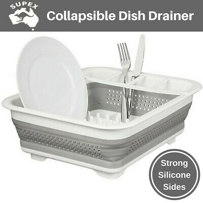 Silicone Collapsible Caravan Dish Drainer Compact Rack Dryer for RV Camping Boat