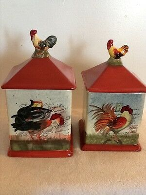 Set Of 2 Certified International By Susan Winget Rooster Ceramic Canisters