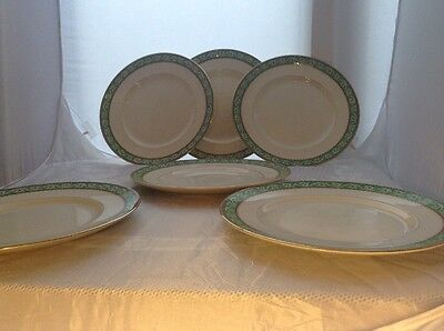 """Vintage Booths Queens Green Solian 10.5"""" Plates X 6"""