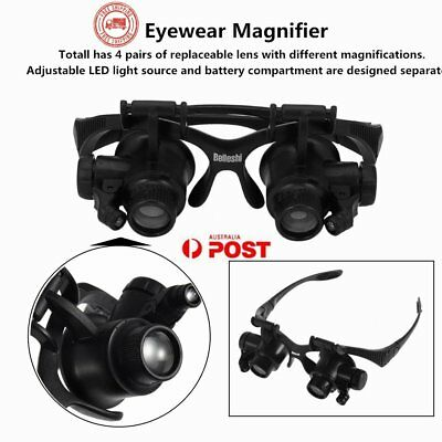 10X 15X 20X 25X LED Glasses Jeweler Magnifier Watch Repair Magnifying Loupe P6