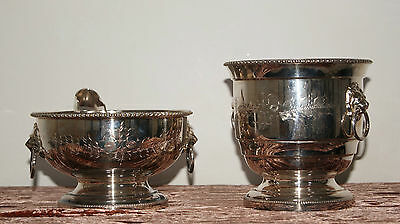 Hand Engraved Silver Plate Wine Cooler & Ice Bucket with Lion Handles + Tongs