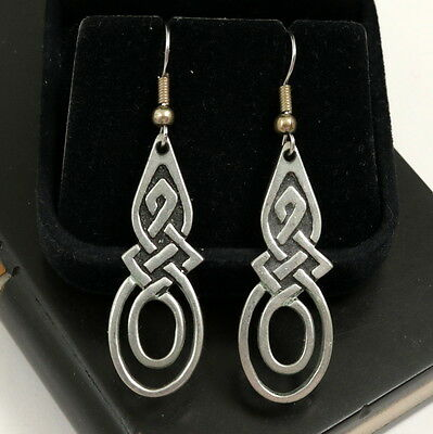 Vintage St Justin Pewter Celtic Knot Dangle Earrings made in Cornwall England