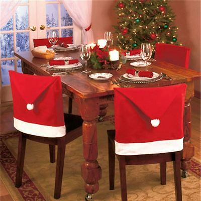 Christmas Santa Clause Hat Dining Chair Back Covers Party Xmas Table Decorations