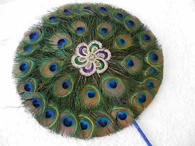 MAGNIFICENT VERY LARGE CIRCULAR NATURAL PEACOCK FEATHER FAN - (~37cm DIAMETER)