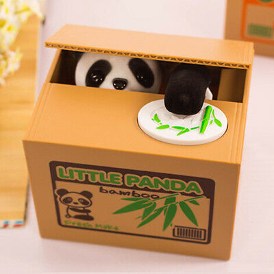 Lovely Kids Automated Panda Steal Coin Bank Money Saving Box Pot Case Gifts P6