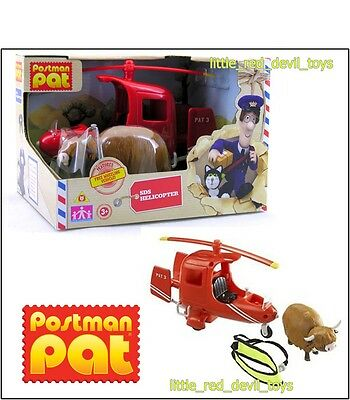 NEW Postman Pat Vehicle Set SDS Helicopter & Daisy the Cow Figure Rescue Sling
