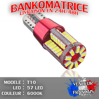 4 Veilleuse Led W5W T10 Canbus Anti Erreur Odb Blanc Pur 6000K Xenon 57 Smd