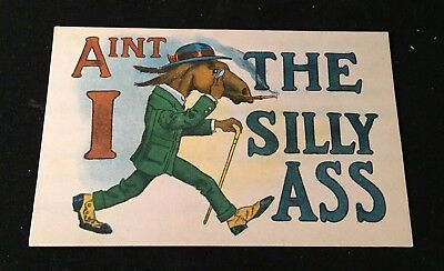 Vintage AIN'T I THE SILLY ASS Donkey in a Suit POSTCARD UNUSED
