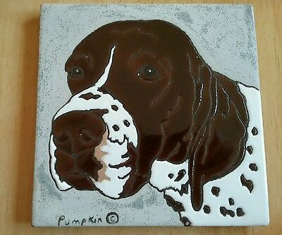 "ENGLISH POINTER Hand glazed 5"" Painted Dog Tile by PUMPKIN  Wall hanging  Trivet"