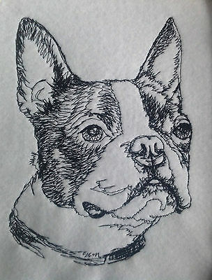 Completed Embroidery Boston Terrier Dog