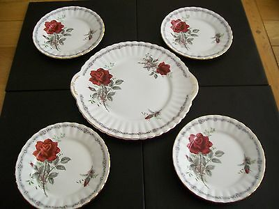 Royal Stafford 4 Side Plates And A Cake Plate - Roses To Remember