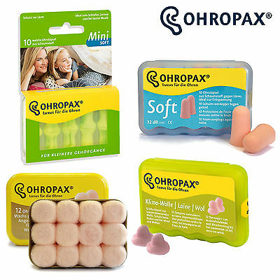 Ohropax Ear Plugs Soft Foam, Classic Wax, Climate Wool Sleep Snore Mini Earplugs