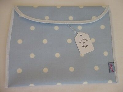 Handmade Blue Dotty Oil Cloth Baby Health Red Record Book Holder/Cover - BNWT