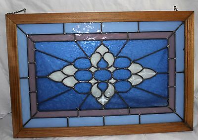Wooden Leaded Stained Glass Window Wall Or Window Mount Chain! Built Sturdy!