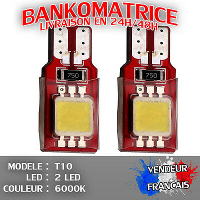 6 Veilleuse Led W5W T10 Canbus Anti Erreur Odb Blanc Pur 6000K Xenon 2 Smd