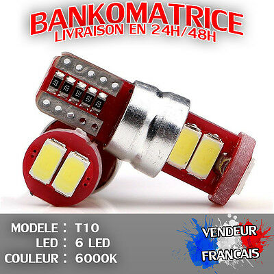 2 Veilleuse Led W5W T10 Canbus Anti Erreur Odb Blanc Pur 6000K Xenon 6 Smd