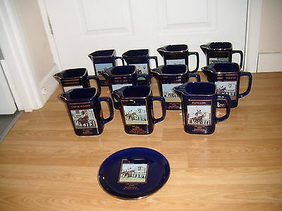 Seagram/martell Grand National Water Jugs ~ 11 Jugs + Bobby Jo Plate ~ Excellent