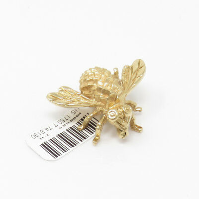 NYJEWEL 14k Solid Gold Brand New Superb Awesome Bee Brooch Pin