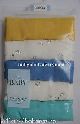 New Marks & Spencer Blue White Muslin Squares x 5