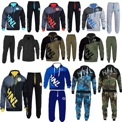 HNL Mens Tracksuit Set Fleece Hoodie Top Bottoms Gym Jogging Joggers QUALITY