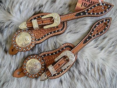 Basketweave Tooled Light Oil Leather Engraved Silver Western Ladies Spur Straps
