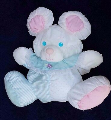 PUFFALUMP Mouse Striped and Polka Dot Blue & White Body Pink Ears Vintage 1980s
