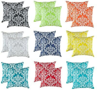 TreeWool, (2 Pack) Damask Accent Cotton Decorative Cushion Covers / Pillowcases