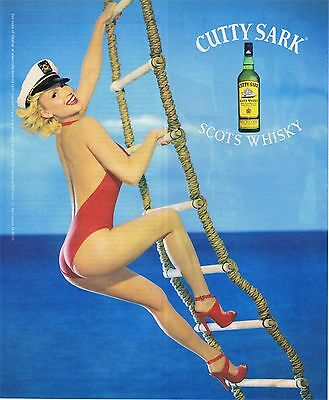 2000 Cutty Sark Scots Whisky Ad ~ Sexy Lady in Bathing Suit Climbing Rope Ladder