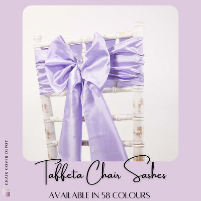 Taffeta Chair Sashes / Matching Table Runners Wedding Decor Events 50 Colours