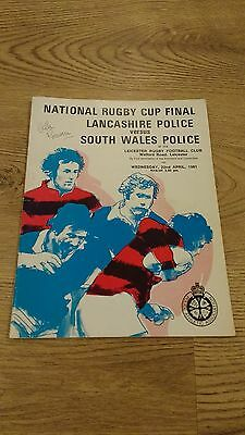 Lancashire v South Wales 1981 Police Cup Final Rugby Union Programme
