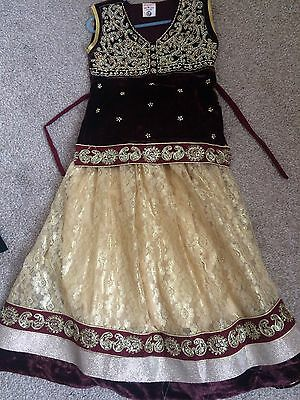 EID Girls indian pakistani sz 26 maroon cream/gold anarkali shalwar baby lengha