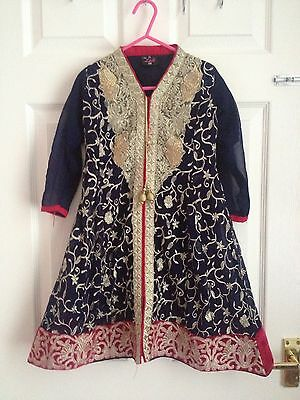 EID Girls indian pakistani sz 22 navy gold pink/red anarkali shalwar dress gown