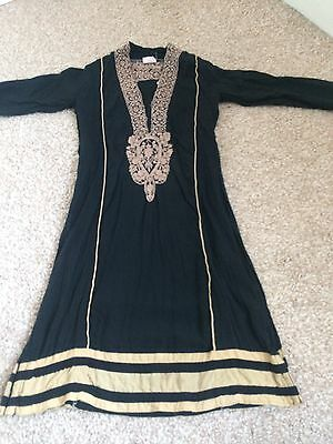 girls indian pakistani anarkali shalwar lengha suit Sz 20 Black Beige