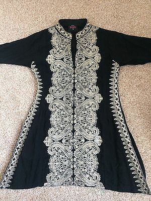 girls indian pakistani anarkali shalwar lengha suit Black Embroidered Sz 20