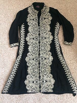 girls indian pakistani anarkali shalwar lengha suit Black Gold Embroidered Sz 22