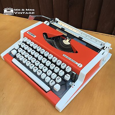 Immaculate Olympia Traveller DeLuxe Orange Typewriter Working Black Red Ribbon