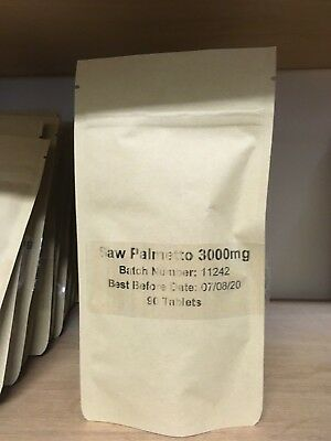 Saw Palmetto 3000mg 90 Tablets - best for Hair, Prostate and Urinary Tract