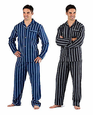 Harvey James Mens 100% Cotton Flannel Striped Pyjama nightwear lounge wear