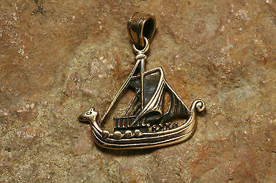 Viking Pendant Bronze Boat solid Amulet with leather strap Viking Langboot