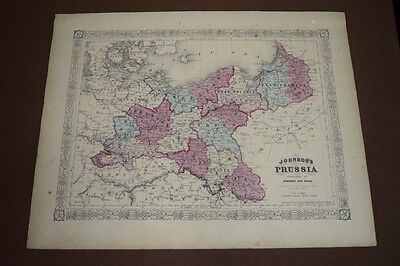 1865 Original Antique Johnson Hand-colored Map of Prussia