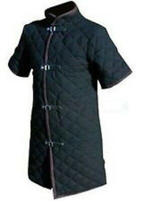 Thick black color viking Gambeson Medieval Padded collar short sleeves Armor ...