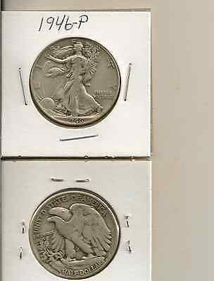 1946-p Walking liberty half dollar (sold as each) you get one coin