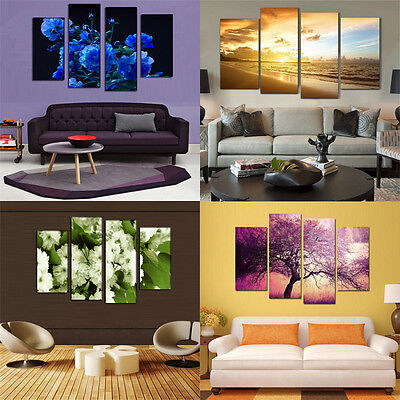 4 Panel Unframed Wall Home Art Painting Modern Pictures Prints On Oil Canvas