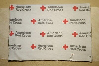 """Used 45x60"""" AMERICAN RED CROSS WHITE BLANKET WITH LOGO EMBLEM 100% POLYESTER USA"""