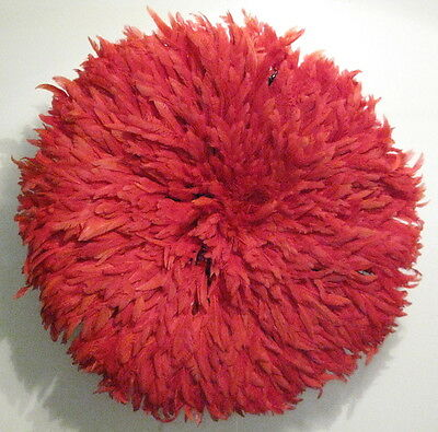 Vintage African feather Juju hat Bamileke People Cameroon red headdress 31in