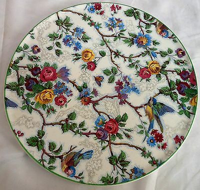 Vintage Barker Brothers Lorna Doone Large Round Serving Tray Birds Flower Chintz