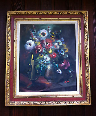 Lrg Romantic Mid Century Floral Frowers Still Life Oil Painting Signed R. Fisher