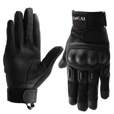 OMGAI Men's Full Finger Gloves of Pu Leather for Motorcycle Outdoor Sports with